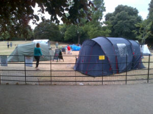 Camping at Manor House Gardens for families of year 6 children July 2013
