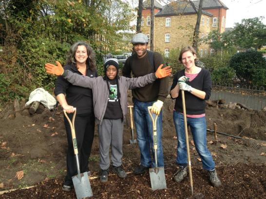 MP Heidi Alexander helping us build the wildlife loggery at Mountsfield Park community garden, Catford SE6 1AN