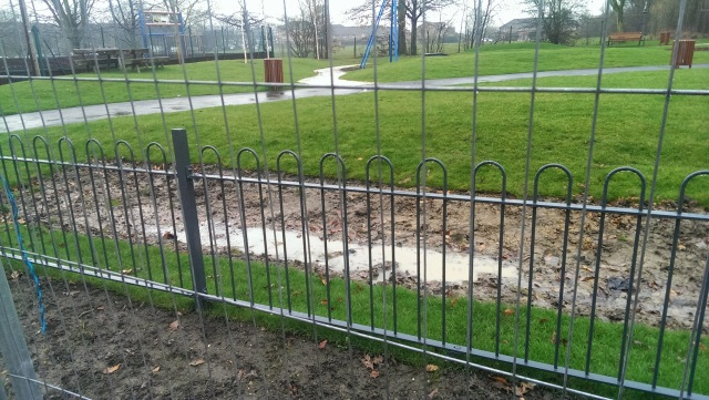 Mountsfield Park play area drainage swale