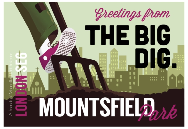Mountsfield greetings from the big dig postcard byy James Blackman
