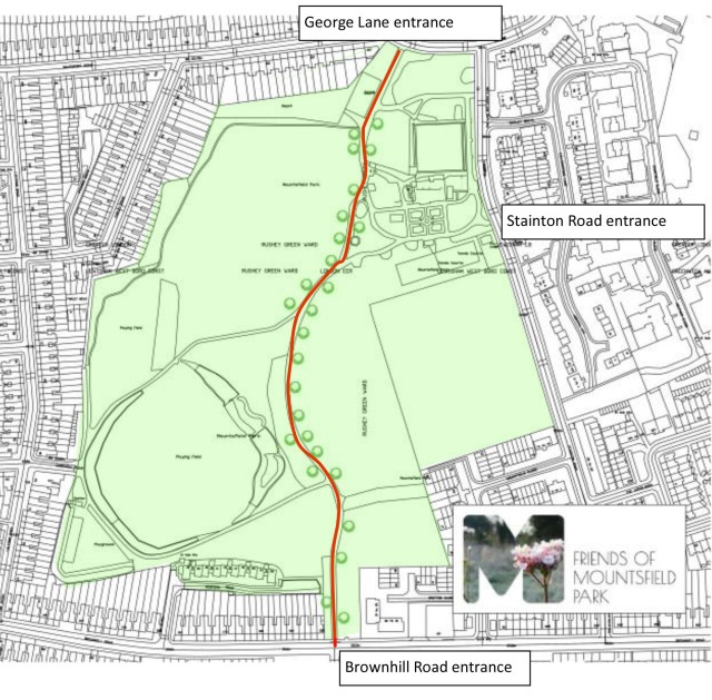 You will find us during the community tree planting events along the main path between the George Lane and Brownhill Road entrances. The main path is the red line on the map of Mountsfield Park above.