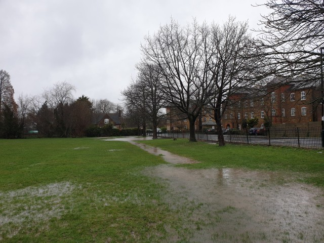 Mountsfield Park sports pitch waterlogged and with accumulated surface water February 2020