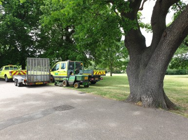 Carelessly parked maintenance vehicles within root protection areas